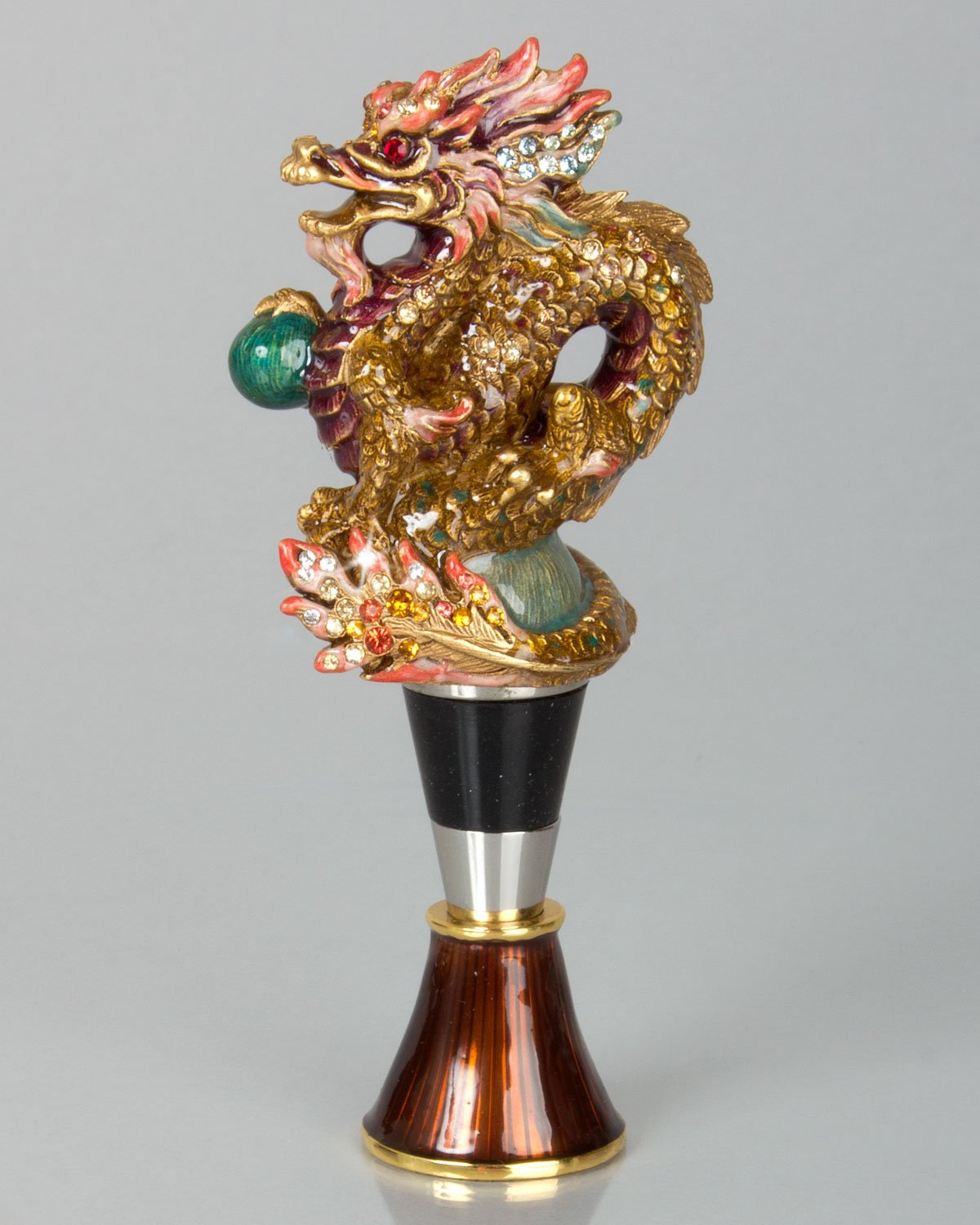 Jay Strongwater Dragon Wine Stopper with Stand Great NEW Collaction