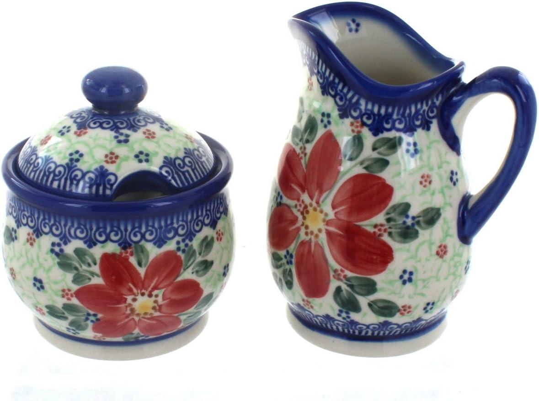 Blue Rose Polish Pottery Pointsettia Cream /& Sugar Set