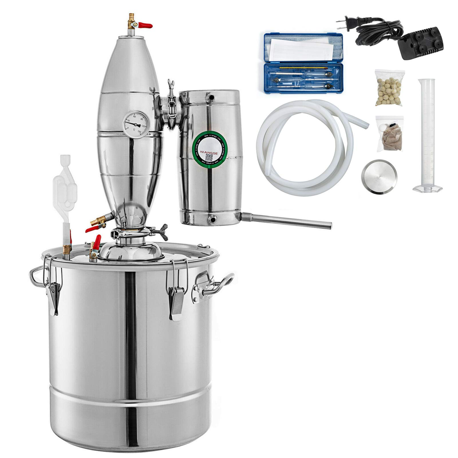 SHZOND Alcohol Distiller 7.9 Gal 30 Liters Wine Making Kit 304 Stainless Steel Moonshine Still Kit with Thermometer (7.9 Gal / 30 Liters)
