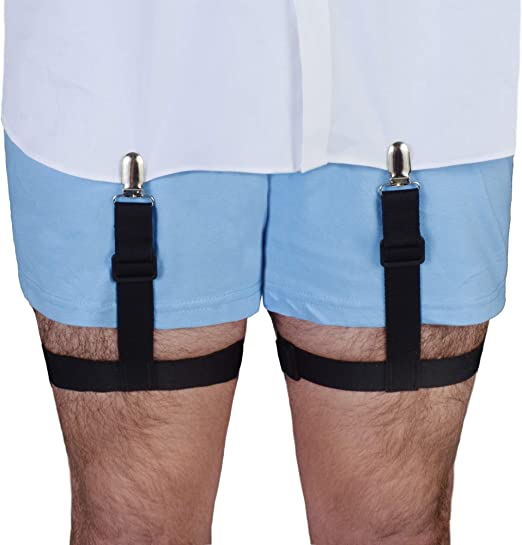 Police /& Military Uniform Shirt Garters for Professional Men Black Falcon Military Grade Shirt Stays Garter Non-Slip Clips Soft Shirt Stay Elastic /& Adjustable