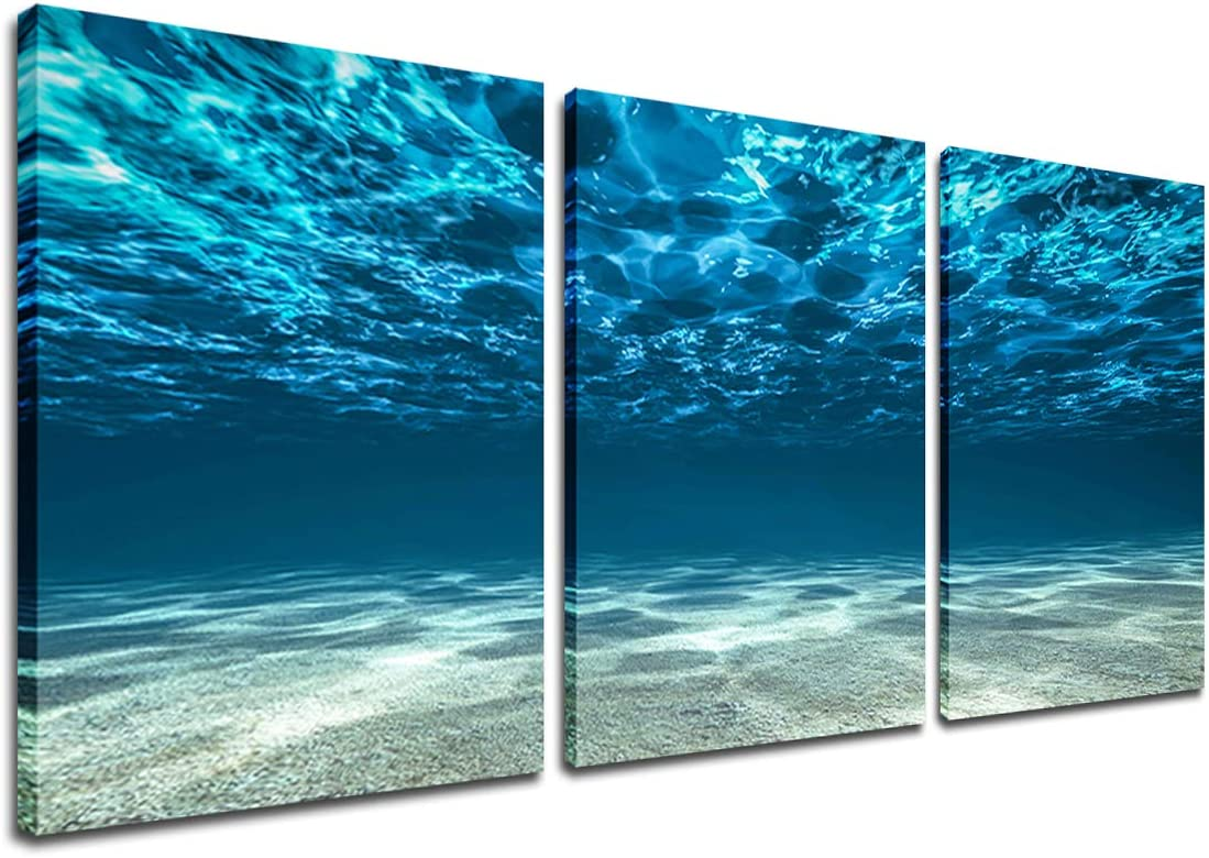 Blue Ocean Sea Wall Art - Seascape Picture Modern Home Office Décor 3 Panel Wall Art Seaview Bottom View Beneath Surface Underwater Poster Living Room Bedroom Decor Framed Art Print Ready to Hang