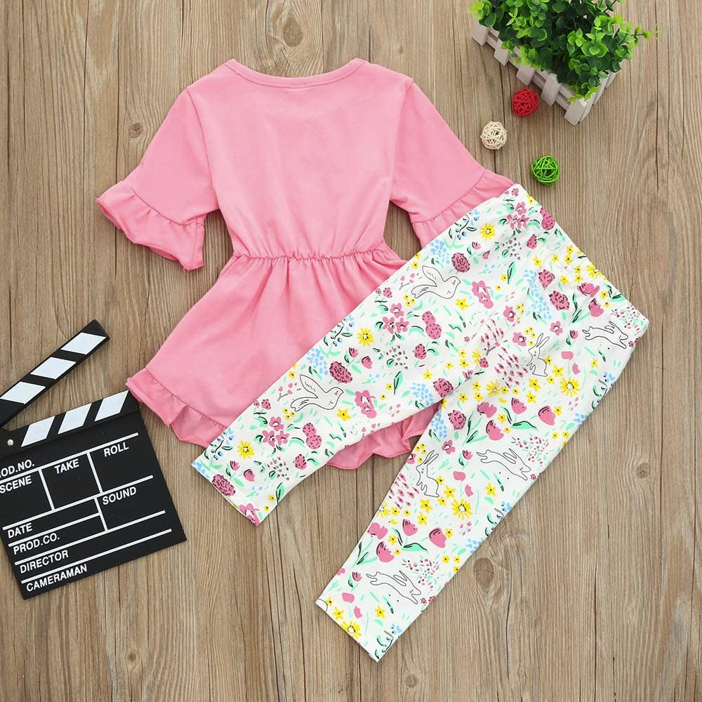 Lookvv Toddler Baby Girl Easter Outfit Floral Ruffles Tunic Dress Leggings Pants Summer Clothes Set