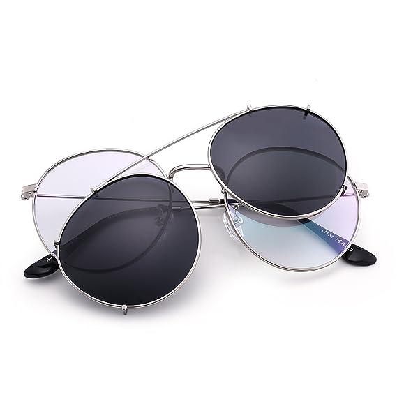 97ac85022475e1 Lunettes de Soleil Rétro Ronde Polarisé Clip On Lunette Solaire Verre  Miroir pour Homme Femme (Argenté Gris)  Amazon.fr  Vêtements et accessoires