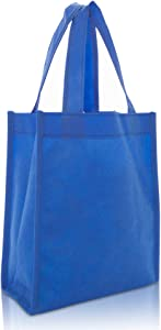 "DALIX 10"" Mini Shopping Totes Small Resuseable Bags for Women and Children in Royal Blue-2 PACK"