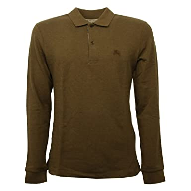 a1746bd243df BURBERRY C0832 Maglia Uomo Marrone Verde Melange Polo t-Shirt Polo Men  S    Amazon.fr  Vêtements et accessoires