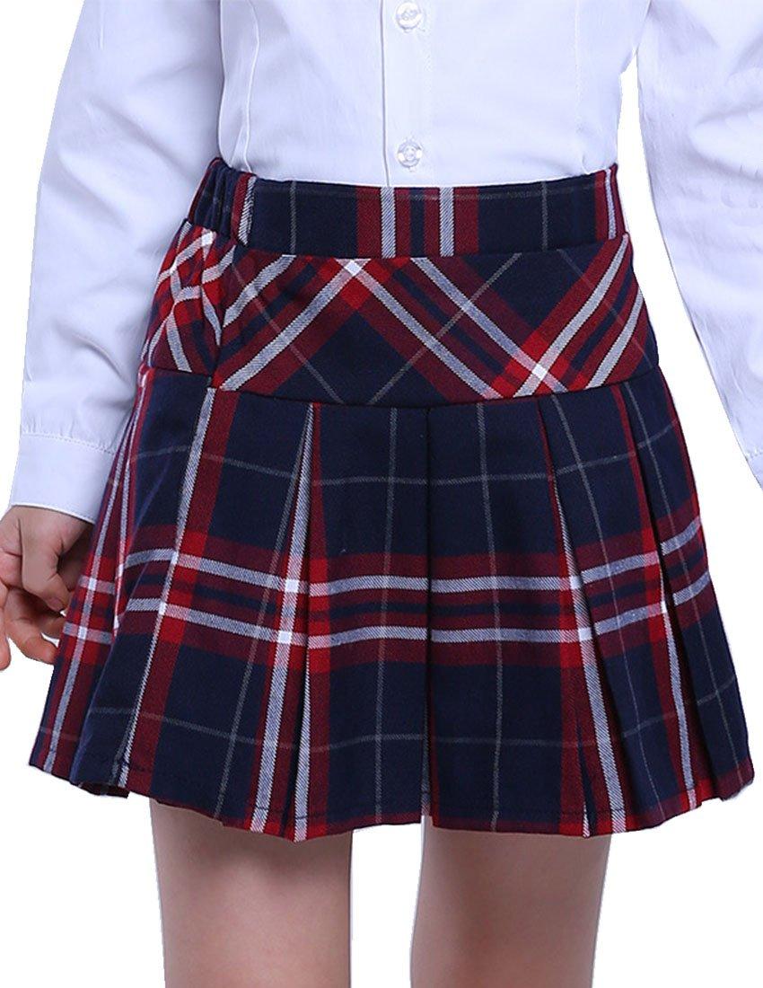 MFrannie Girls Plaid Mid Waist Elastic Pleated School Uniform Skirt 4T