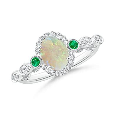 Angara Oval Shaped Opal Bypass Ring in Rose Gold - October Birthstone Ring ZcbWHO