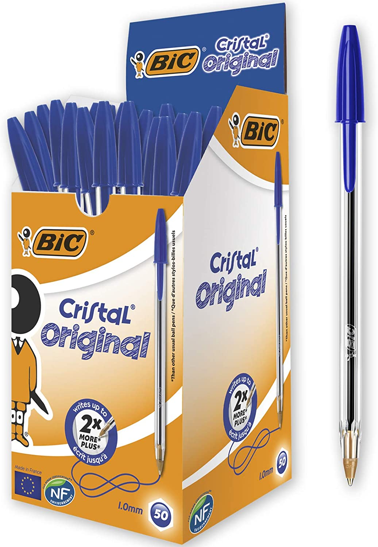 BIC Cristal Original - Caja de 50 unidades, bolígrafos punta media 1.0 mm, color azul: Amazon.es: Oficina y papelería