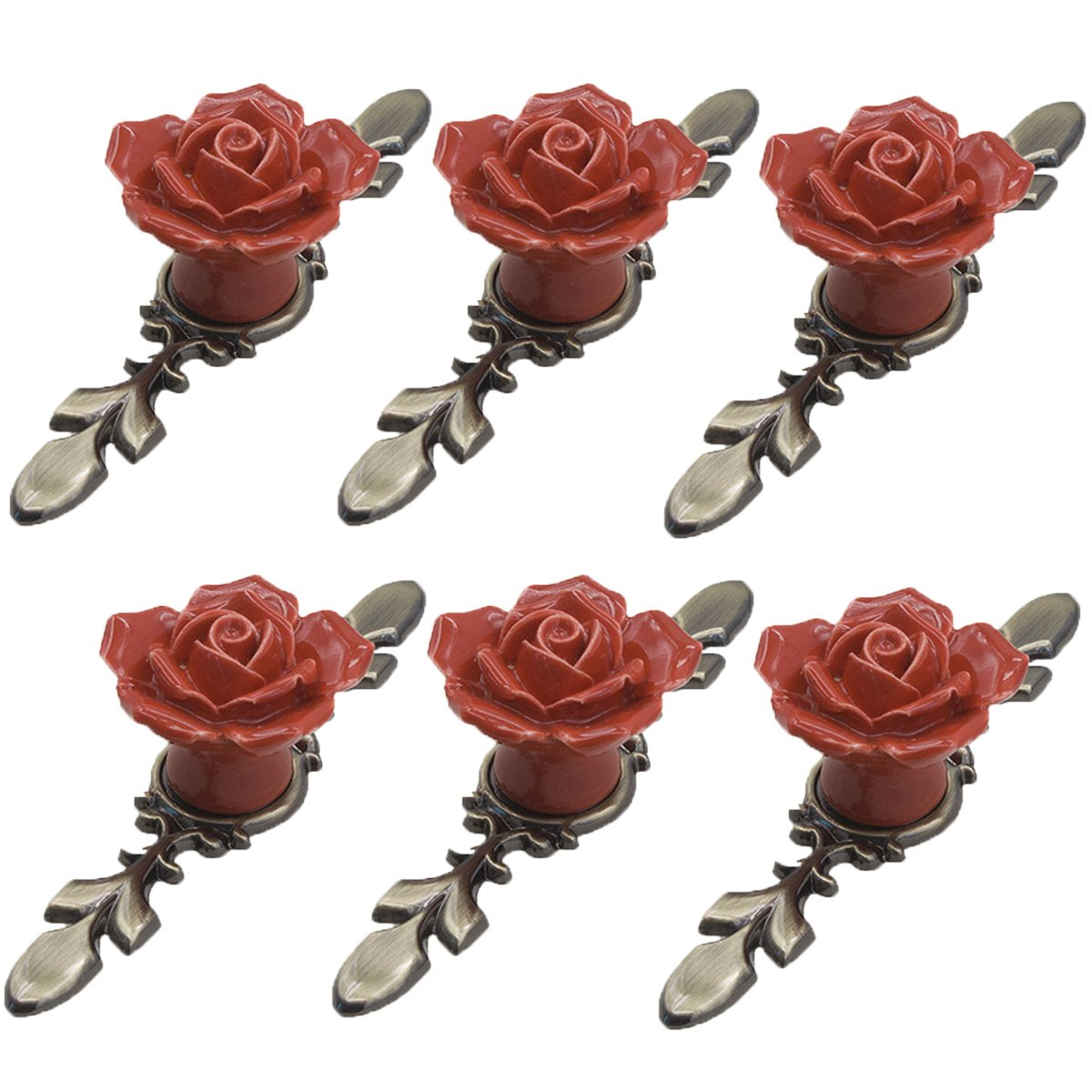 FirstDecor 6PCS Handmade Vintage Floral Rose Ceramic Door Knobs/Drawer Pulls/Cabinet Handles with Antique Brass Base - Home Decor Accessories