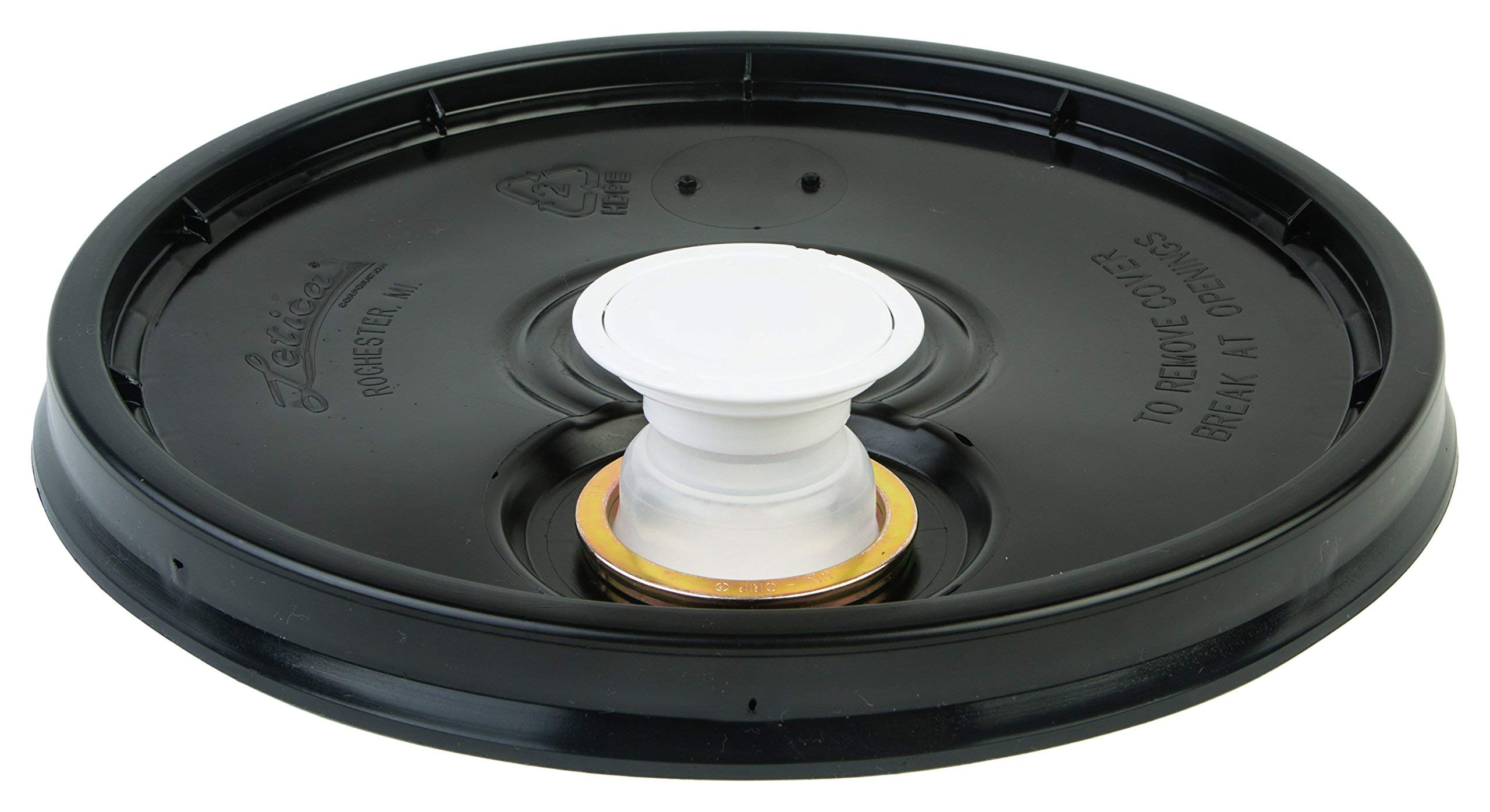Hudson Exchange Lid with Spout and Gasket for 3.5, 5, 6, and 7 gal Buckets, HDPE, Black, 3 Pack