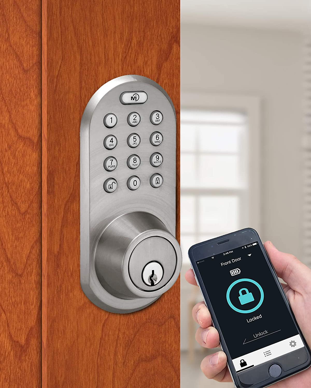 BLEF-02SN NEW MiLocks Smartphone Entry Keypad /& Deadbolt Silver