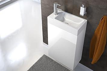 SAM Waschtisch Vega, Badezimmer Waschplatz in Weiß Hochglanz, 40 x ...