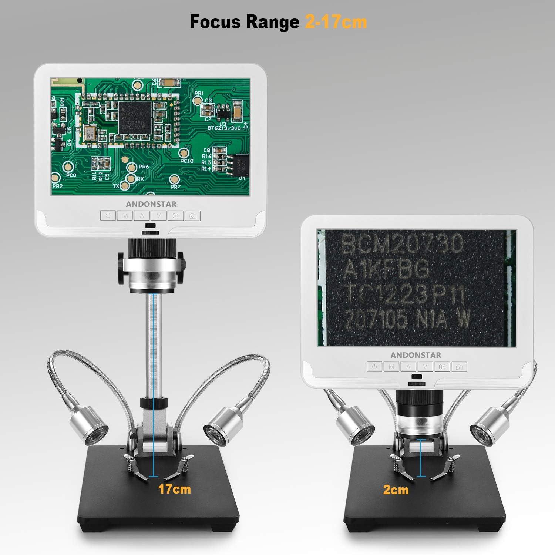 Andonstar AD206 White Digital Microscope 7 Inches LCD Screen Digital Magnifier Soldering Tools for Circuit Board Phone Repair