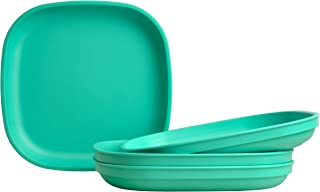 """product image for Re-Play Made in USA Recycled Products, Set of 4 (9"""" Heavy Duty Dining Plate, Aqua) Great for Outdoor, Camping, Party, Tailgating or Everyday Dining"""