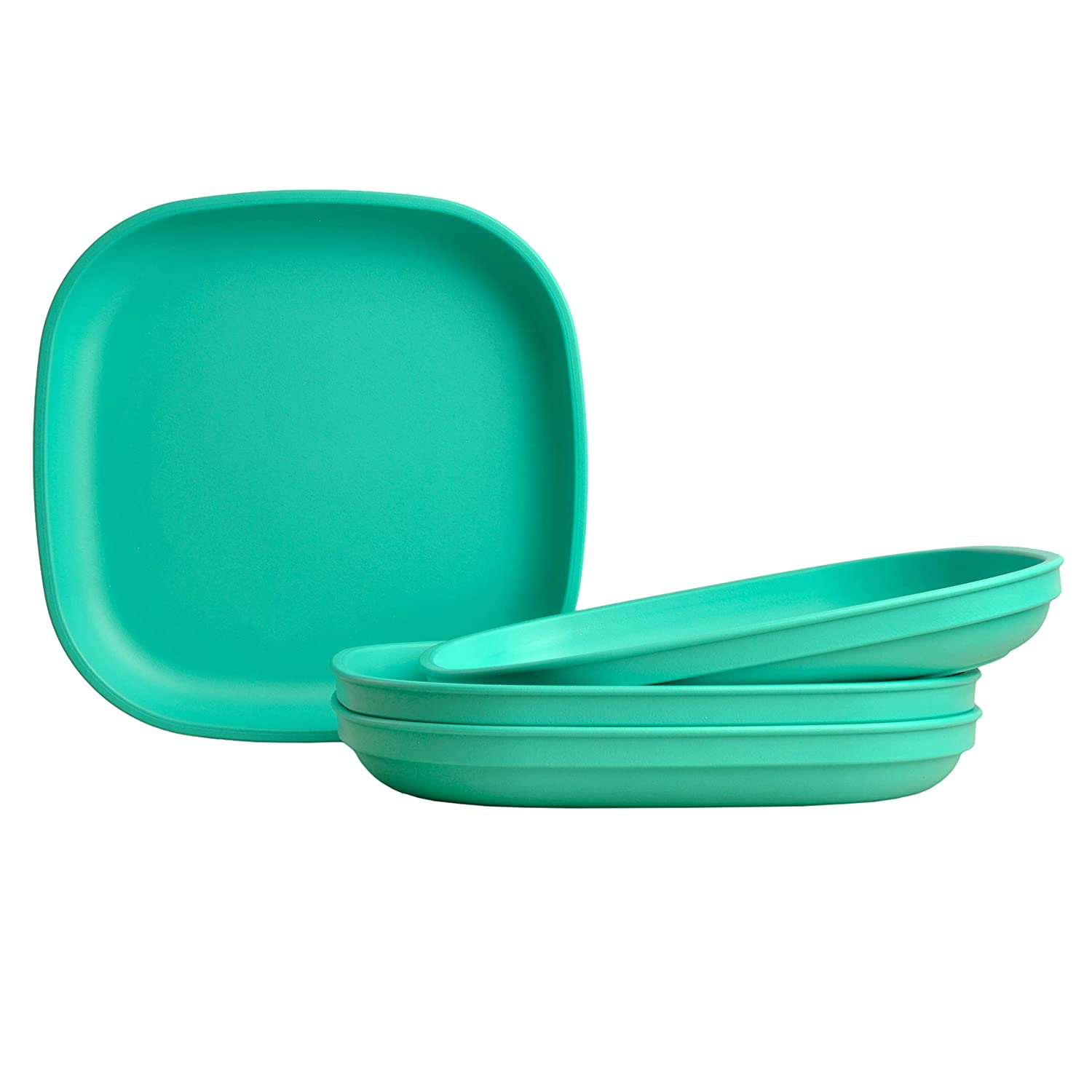 """Re-Play Made in USA Recycled Products, Set of 4 (9"""" Heavy Duty Dining Plate, Aqua) Great for Outdoor, Camping, Party, Tailgating or Everyday Dining"""