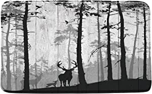 Deer Forest Bath Mat Abstract Forest Tree Family Deer Moose Birds Silhouette Fall Hunting Woodland Camping Log Cabin on Vintage Rustic Wood Board Microfiber Memory Foam Bathroom Rugs,20x31Inch