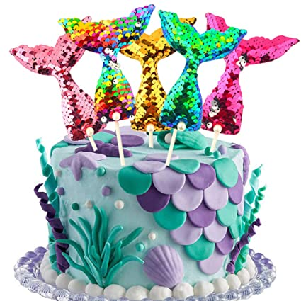 Fantastic Mermaid Tail Cake Toppers Set Reusable Sequin Reversible Mermaid Personalised Birthday Cards Veneteletsinfo