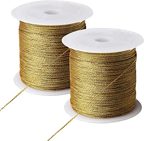 Set of 2 Metallic Gold Cord Knot Fabric Finding Closure Fastner Craft Buckle Sewing Embellishment