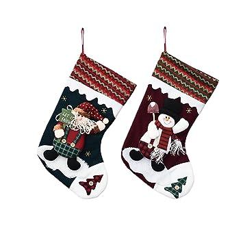 lhzy grande Classic calcetines navideños (2 unidades), diseño de Papá Noel, muñeco