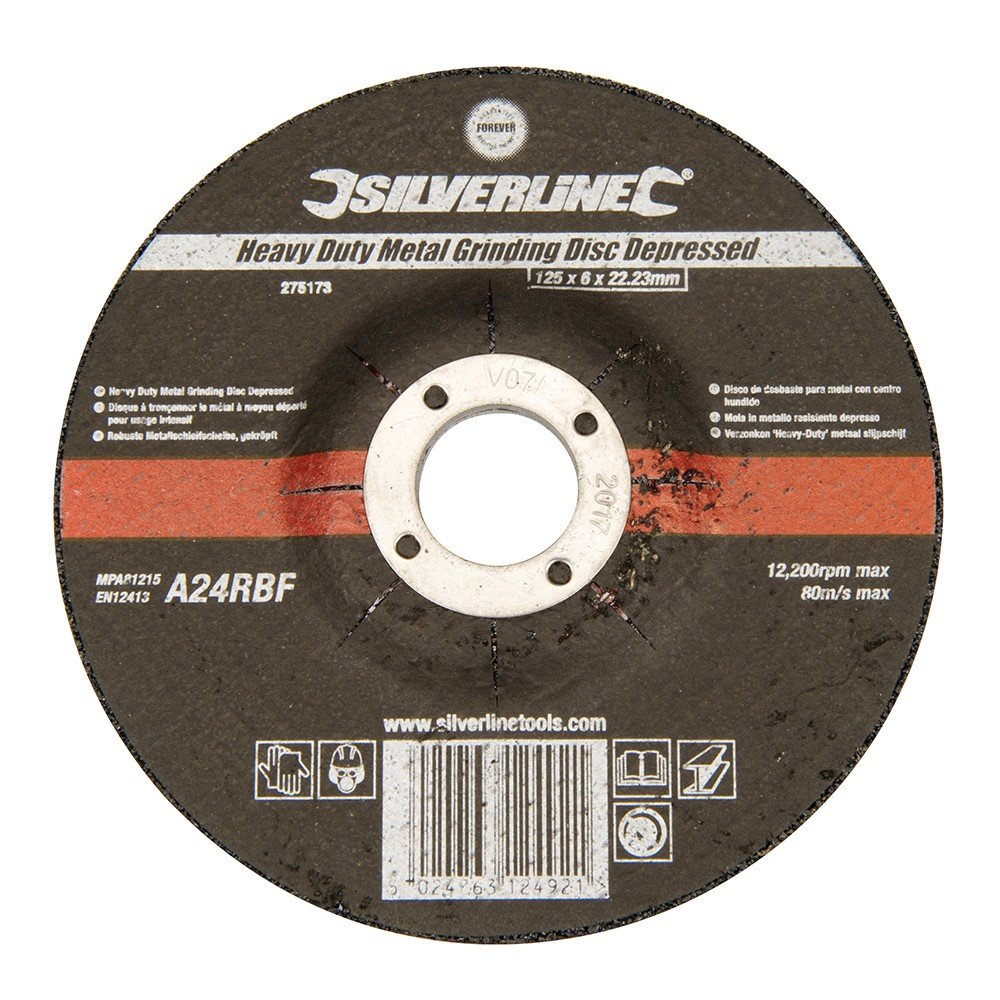 Silverline 274905 Heavy Duty Metal Grinding Disc Depressed 115 x 6 x 22.23mm