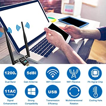 LittleBaby USB WiFi Adaptador Receptor WiFi, 1200Mbps Antena con USB 3.0 Wireless 5DBI Banda Doble 2.4GHz/5.8GHz WiFi Dongle para Desktop/Laptop/PC, ...