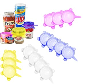 Silicone Stretch Lids,14 Pack Small size of 2.6 Inch, Reusable Durable Food Storage Covers for Cups Small Bowls Cans Jars Fruits Vegetables,Pet food cans(Can Stretches to 3.8 Inches)