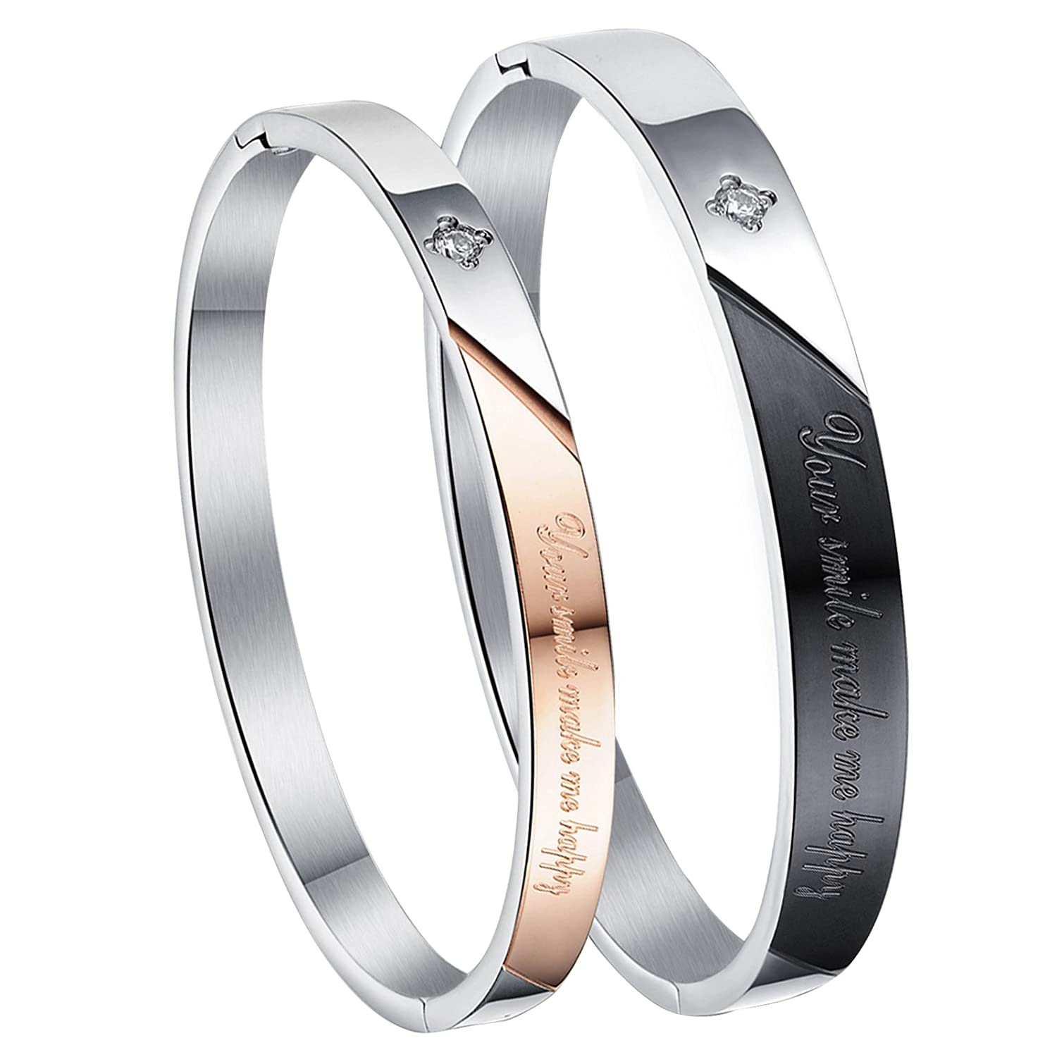 Cupimatch 2pcs Stainless Steel Couples Bracelet Bangle His& Her Matching Set Valentine Romantic Gift C003025