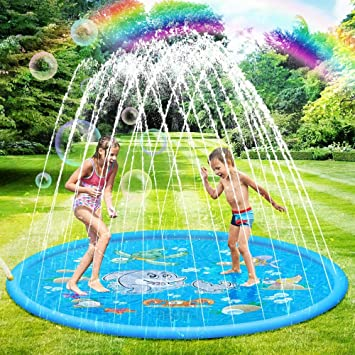 SANBLOGAN Splash Pad,Colchoneta de Agua para Niños,Juegos de Agua para Niños,Tapete de Juegos de Agua Almohadilla de Rociadores Juguete de Verano 170cm,PVC Salpica Almohadil,Piscina de Juego de Verano: Amazon.es: Juguetes y juegos