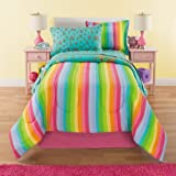6 Piece Girls Rainbow Comforter Set Twin, Unicorn Reversible Bedding, Beautiful Allover Flowers and Floral Pattern, Vibrant Rainbows with Clouds, Pink Orange Yellow Blue Aqua Green, Colorful!