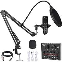 Kit de micrófono de condensador BM-800 con tarjeta de sonido en vivo, equipo de grabación de micrófono ajustable, brazo…