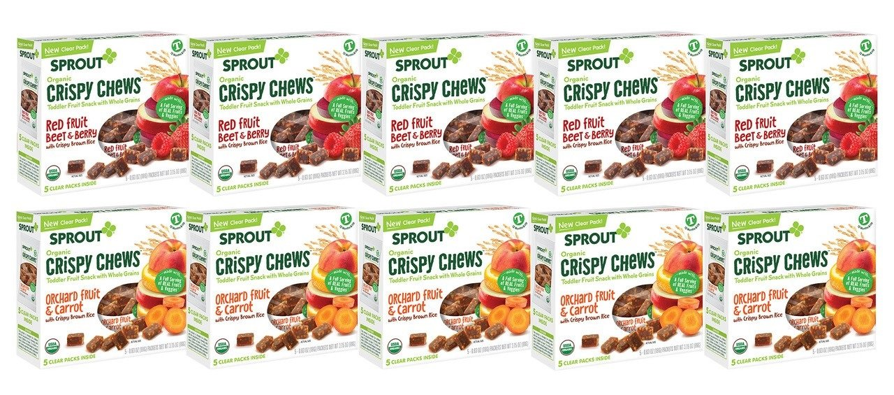 Sprout Organic Baby Food, Crispy Chews Toddler Snacks Variety Pack, Red Berry & Beet and Orchard Fruit and Carrot (5 boxes of each flavor), 10 Count by Sprout