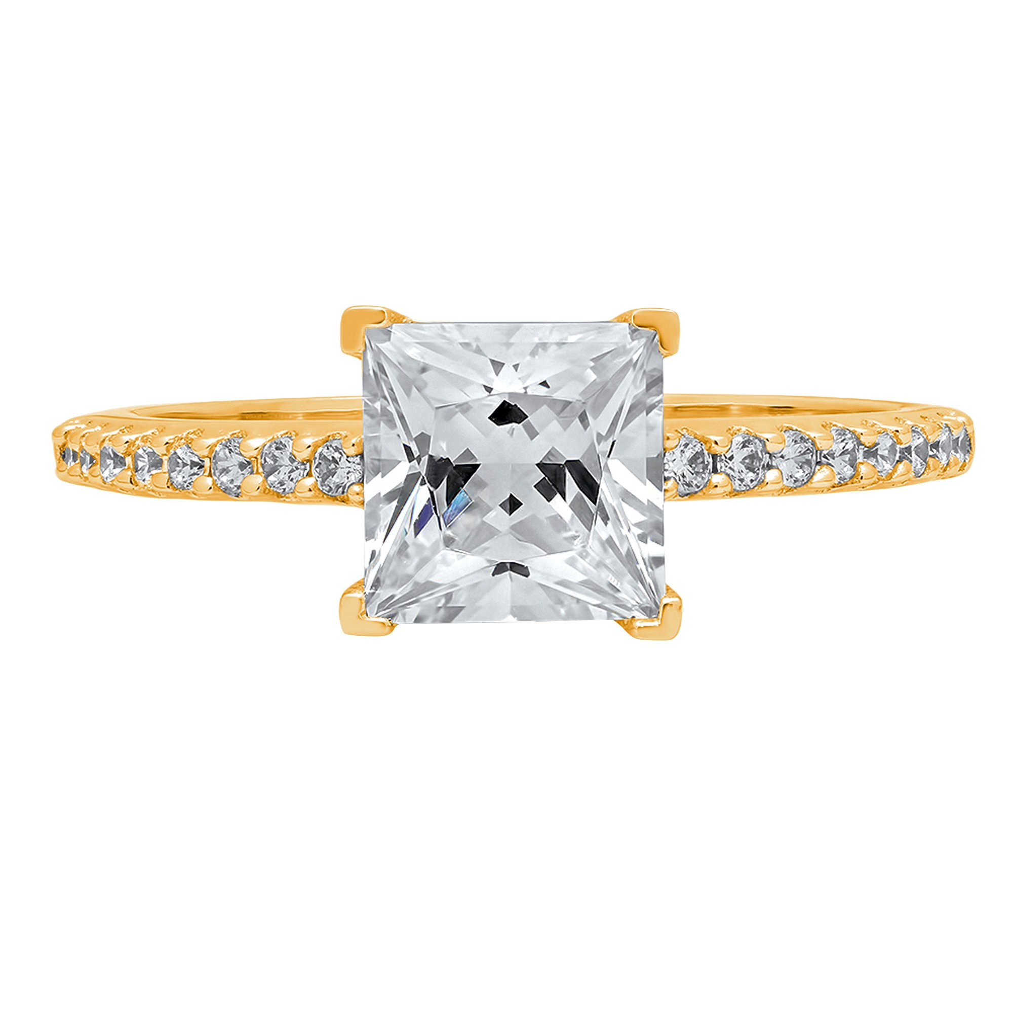 1.56ct Brilliant Princess Cut Accent Solitaire Engagement Anniversary Wedding Bridal Promise Ring in Solid 14k Yellow Gold for Women, 10.25 by Clara Pucci