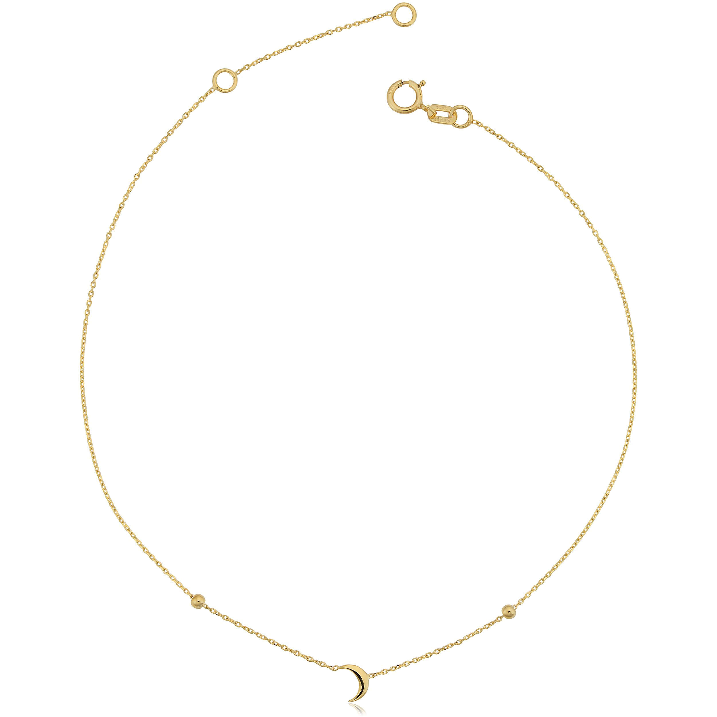 14k Yellow Gold Crescent Moon Adjustable Length Anklet (fits 9'' or 10'')