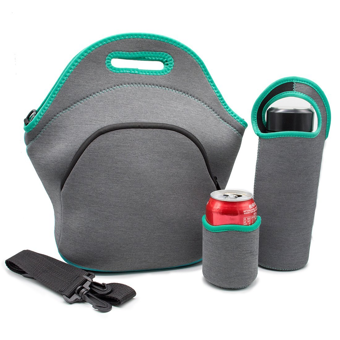 Insulated Lunch Bag Set with Tote,Bottle Sleeve,1 Can Insulators & Adjustable Crossbody Shoulder Strap - Large Neoprene Lunch Bags for Women, Kids and Men,Washable,Reusable
