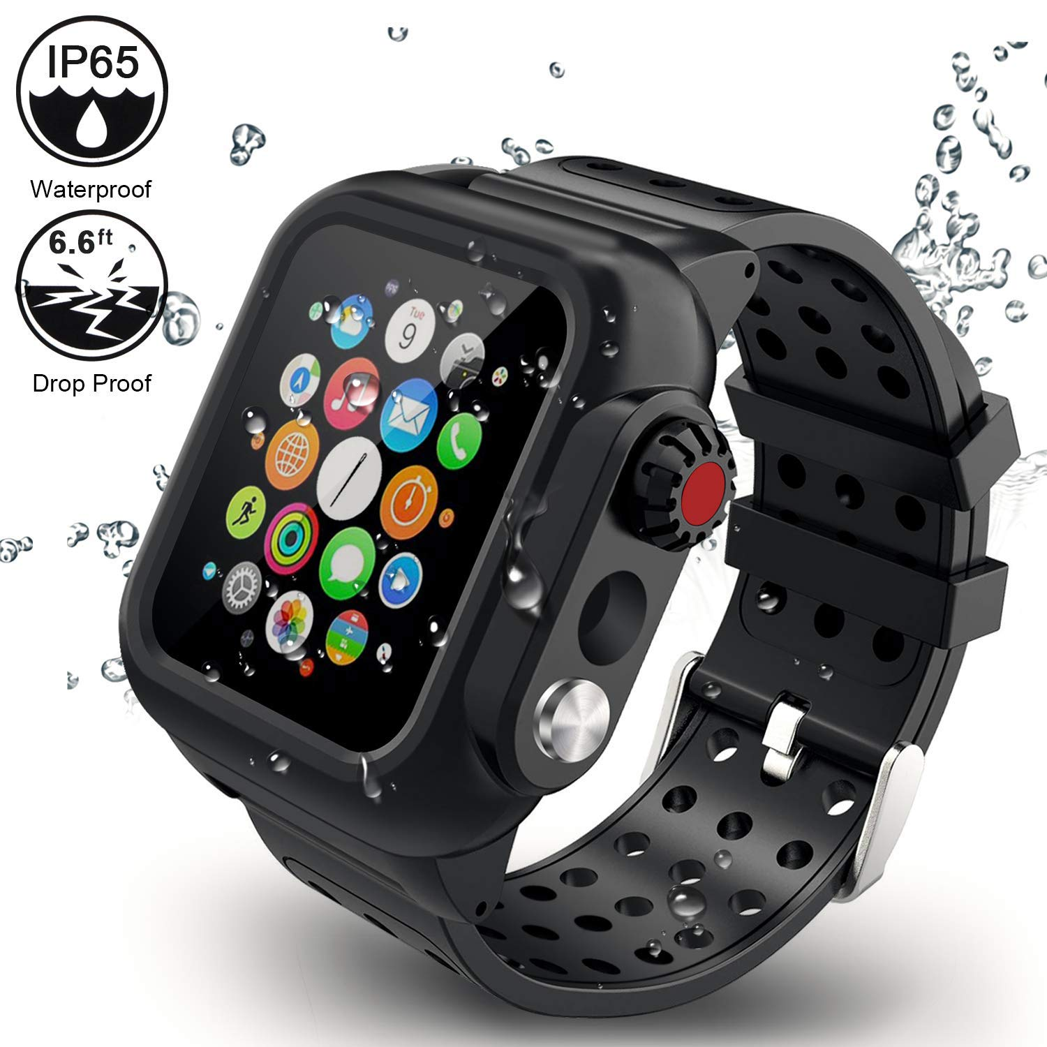 ADDSMILE Compatible for Apple Watch Band with Case 44mm Series 4, 3-in-1Waterproof Case with Soft Silicone Band and Anti-Scratch Screen Protector, 360°Protective Case Compatible With iWatch 44mm-black