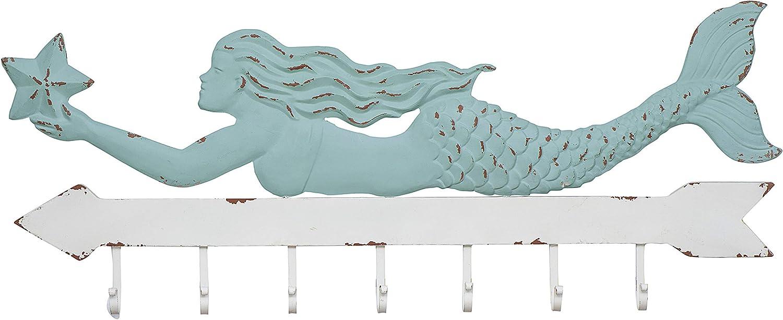 Creative Co-op Aqua & White Metal Mermaid Wall Décor with 7 Hooks