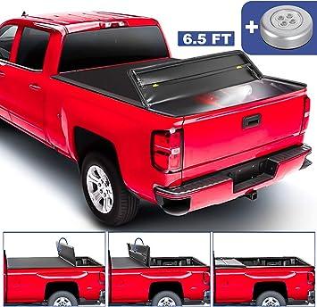 Amazon Com Mostplus Quad Fold Soft Truck Bed Tonneau Cover Compatible For 2014 2019 Chevy Silverado Gmc Sierra 1500 2015 2018 Silverado Sierra 2500 3500 Hd 6 5 6 6 Ft Bed Fleetside On Top Automotive