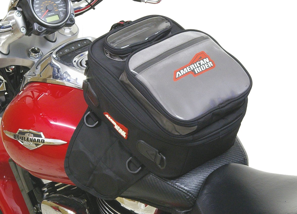 American Rider - Expandable Magnetic Motorcycle Tank Bag - w/ Rain Cover & Map Window.