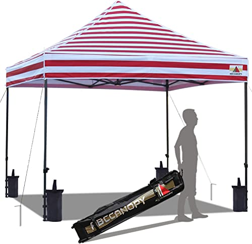 ABCCANOPY Commercial Pop up Canopy Tent Instant Shelter with Wheeled Roller Bag, Bonus 4 Canopy Weight Bags, 10×10 FT Red