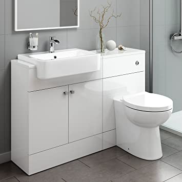 Admirable Premium Gloss White Combined Vanity Unit With Basin And Back To Wall Toilet Bathroom Furniture Set Mv2004 Home Interior And Landscaping Transignezvosmurscom