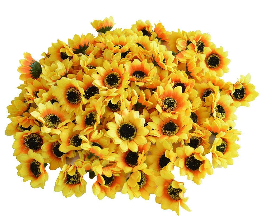 Kinwell 200pcs Artificial Silk Yellow Sunflower Heads 1.8'' Fabric Floral for Home Decoration Wedding Decor, Bride Holding Flowers,Garden Craft Art Decor