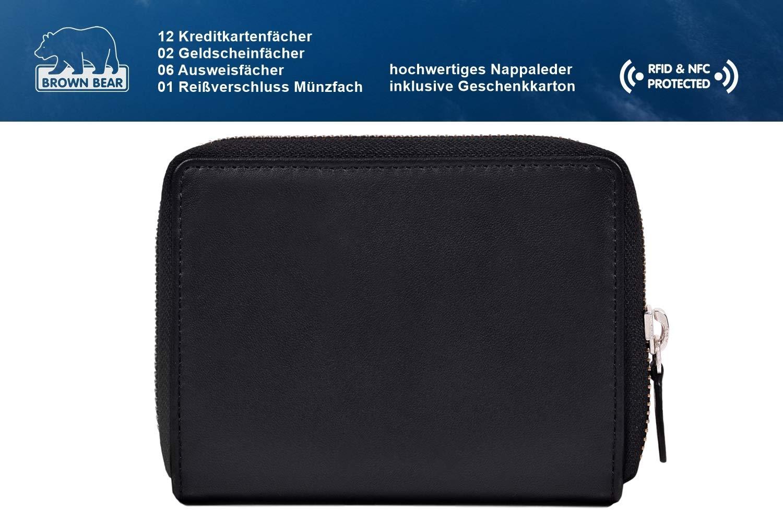 f7f7c30a421cf Brown Bear Geldbörse Damen Leder Schwarz groß viele Fächer RFID Schutz und  Reißverschluss hochwertig Design Geldbeutel Frauen Portemonnaie Portmonaise  ...