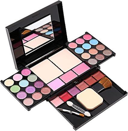 Alupper Sombra de ojos y paleta de maquillaje [35 colores brillantes] brillo labial de materia y brillo - cepillos para rubor - Paleta cosmética altamente pigmentada: Amazon.es: Belleza