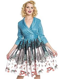 Lindy Bop Vivi Blue Central Park Winter Print Swing Dress