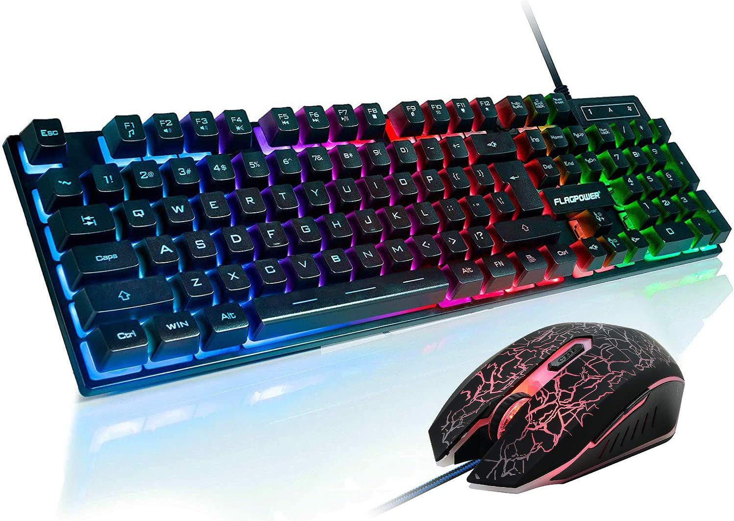 Amazon Com Flagpower Gaming Keyboard And Mouse Combo Rainbow Backlit Mechanical Feeling Keyboard With 4 Colors Breathing Led Backlight Mouse For Pc Laptop Computer Game And Work Computers Accessories