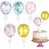 25 Pieces Colorful Confetti Balloon Cake Topper 5 Inches Mini Transparent Confetti Balloon Sequins Latex Ballons Cake…