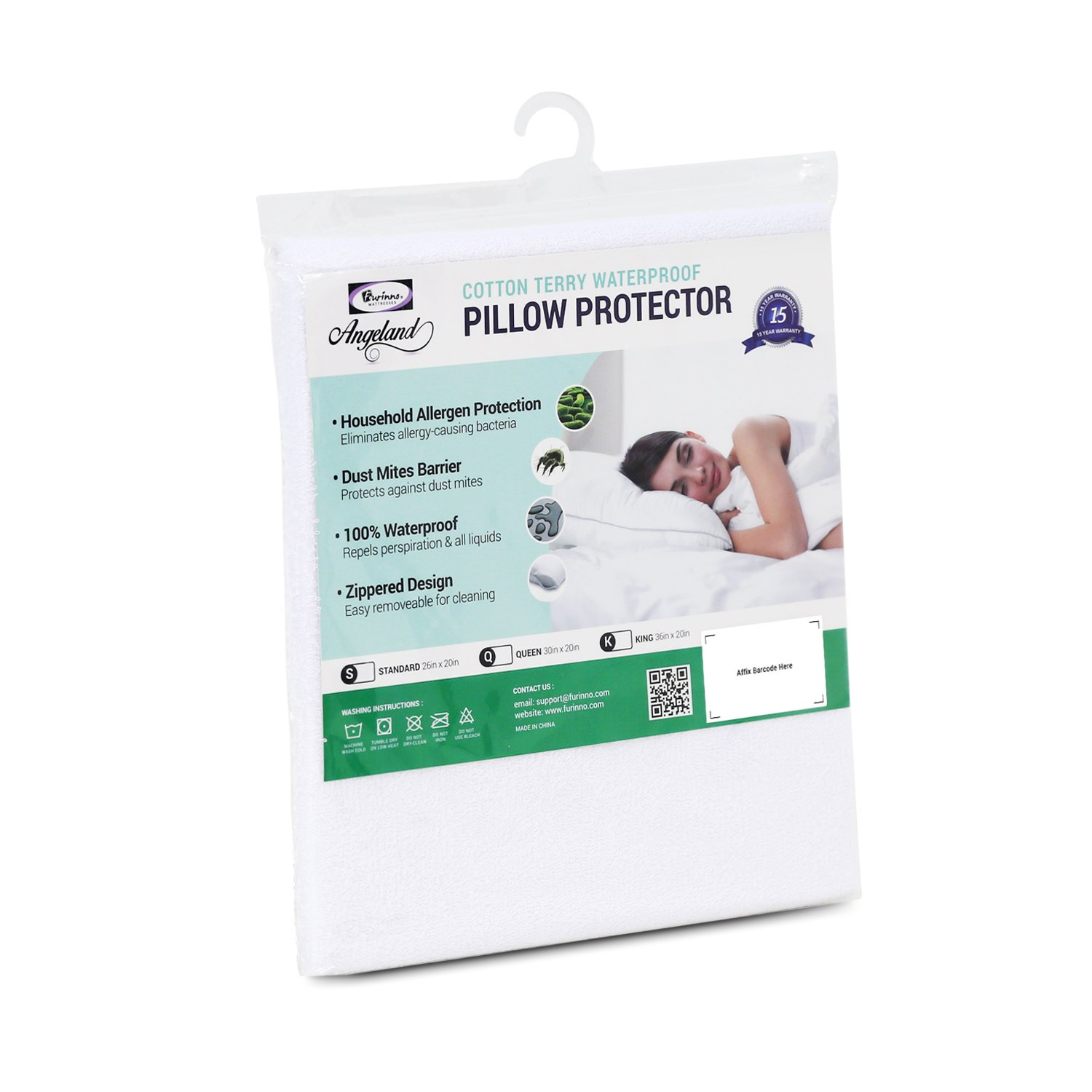 Furinno Angeland Terry Cloth Waterproof Pillow Protector, King, White PP05103K