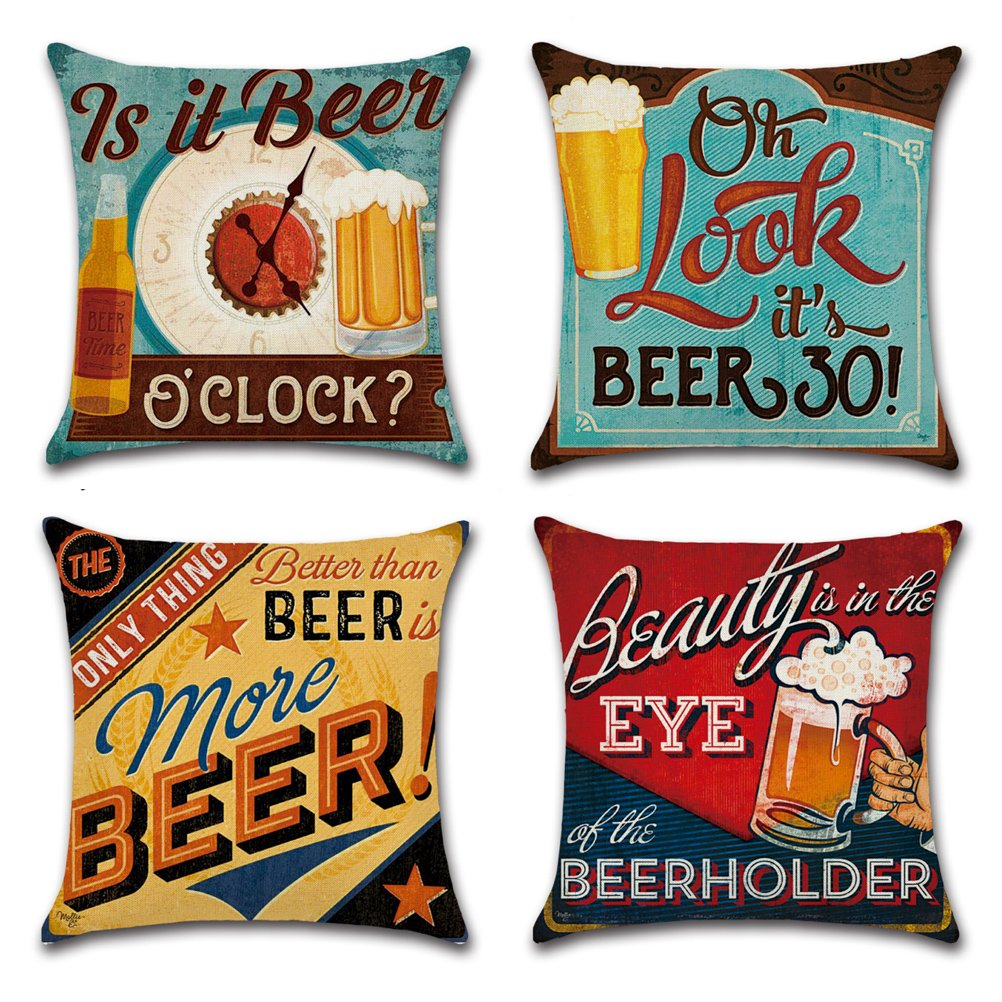 Cotton Linen Throw Pillow Case U-LOVE Square Decorative Cushion Cover with Beer Pattern 18 X 18 Inch Pillow covers,4 pack by U-LOVE (Image #1)