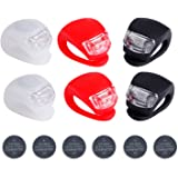 6pcs/set bicycle lights Super Frog Silicone LED Bike Light Multi-purpose Water Resistant Headlight (Red + White + Black + battery) by Deruicent