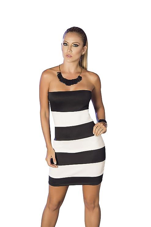 Vestido tubo blanco y negro